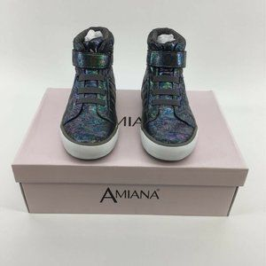 Amiana Girls High Top Sneakers Blue Wash Nappa